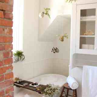White bathroom with antique white tub, brick chimney, and houseplants