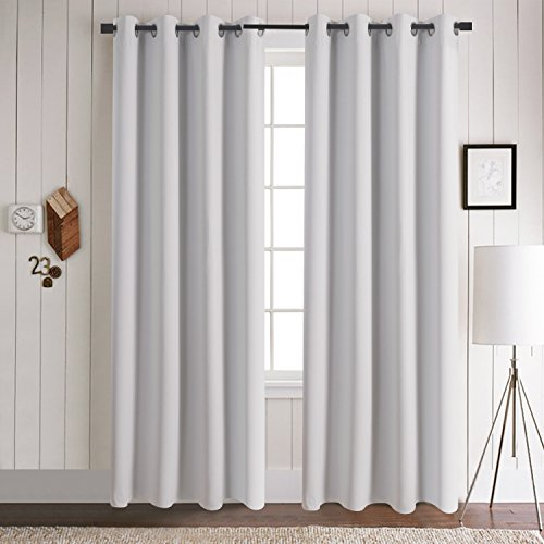 Aquazolax Readymade Solid Thermal Insulated Grommet Blackout Curtains For Bedroom Set Of 2