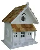 Home Bazaar Victorian Cottage Birdhouse, White