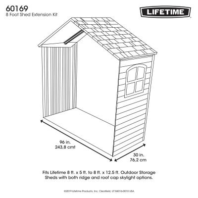 30 Inch Extension Kit for 8 Ft. Sheds (1 Window) 196