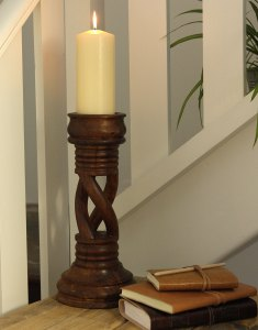 Fair Trade carved wooden candle stick