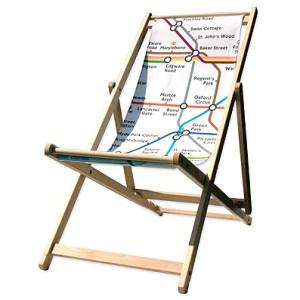 Modern London Underground map garden deck chair