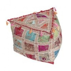 Recycled sari vintage material triangular pouffe