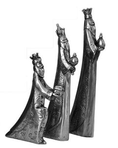 We Three Kings silver resin Christmas decoration