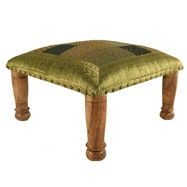 Green sari brocade footstool from Myakka