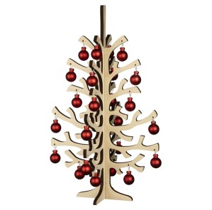 Wooden Christmas tree with baubles