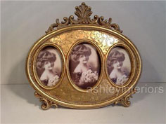Antique Victorian style gold miniature oval photo frame
