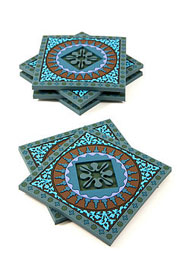 Middle Eastern inspired decorative mosaic coaster set