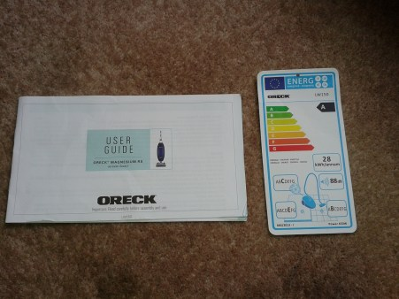 Energy rating card and instruction book