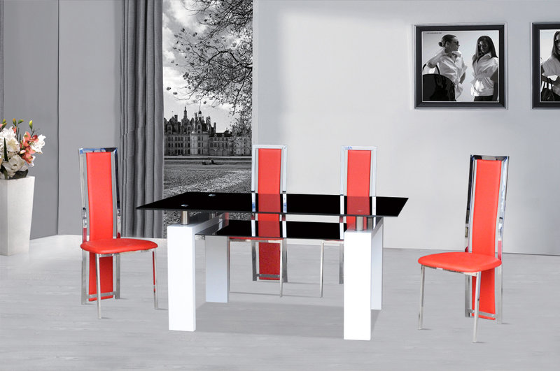 x back chairs stylist wholesale black glass dining table white gloss & 4 red - homegenies
