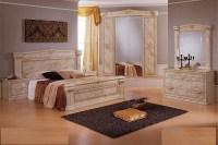 Italian high gloss marble bedroom furniture set - Homegenies