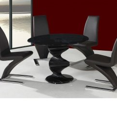 Round Black Kitchen Table Wrought Iron Chairs Twirl Glass Dining And 4 In Homegenies