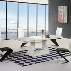 High Top Table With 6 Chairs Caldwell Shooting Chair Black And White Gloss Glass Extending Dining