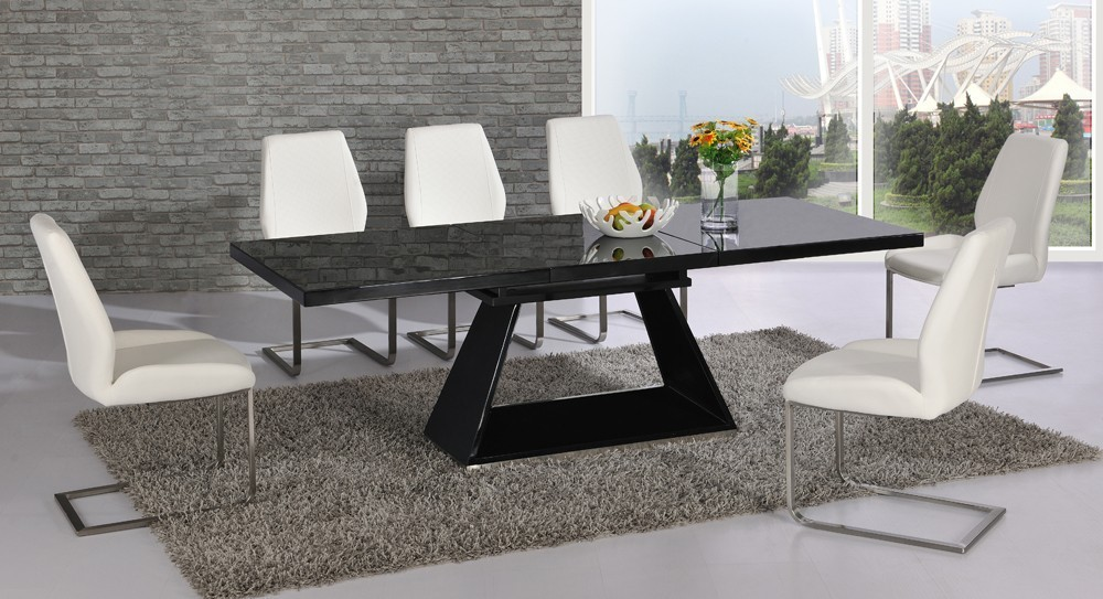 space saving high chair with lumbar support black glass extending gloss dining table and 6 white chairs