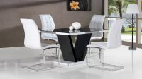 Black glass high gloss dining table and 4 white chairs ...