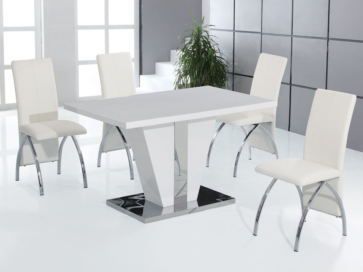 white kitchen tables cabinet pull out drawers full high gloss dining table and 4 chairs set