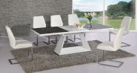 White high gloss extending black glass dining table and 8 ...