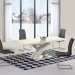 White High Gloss Dining Table 6 Chairs Rustic Wood Kitchen And Glass Extending