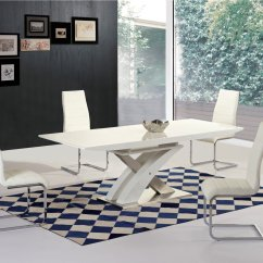 White High Gloss Dining Table 6 Chairs Hickory Chair Sideboard Glass Extending And