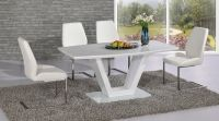 Modern white high gloss glass dining table and 6 chairs