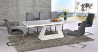 Modern white high gloss extending dining table and 6 grey ...