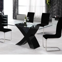 Black Dining Table And Chairs Church Wholesale High Gloss 4 Glass Top