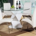 Modern round white high gloss clear glass dining table and 4 chairs