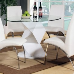 White High Gloss Dining Table 6 Chairs Showood Accent Chair Ashley Modern Round Clear Glass And 4