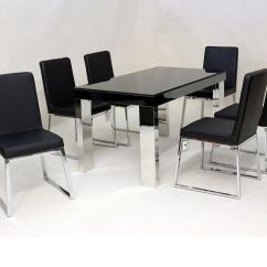 Chrome Dining Chairs Uk Heavy Duty Folding Camping Black Glass And Table 6 Homegenies