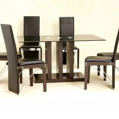 Black Dining Table And Chairs Chair Covers For Wedding Rental Near Me Glass 6 Large Homegenies