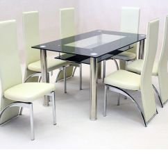 Glass Kitchen Table Sets Quartz Sinks Black Dining And 6 Faux Chairs In Cream