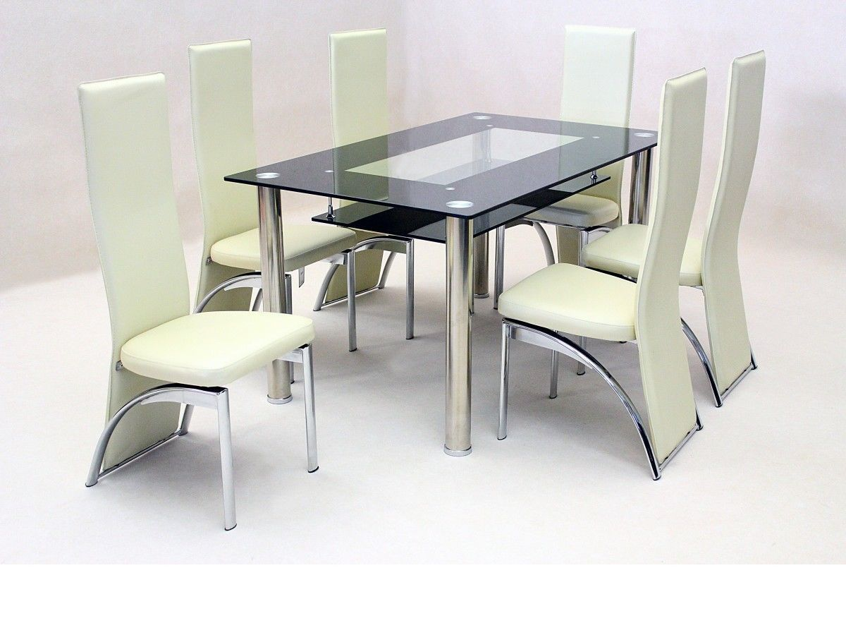 glass kitchen tables pendant lights for island black dining table and 6 faux chairs in cream