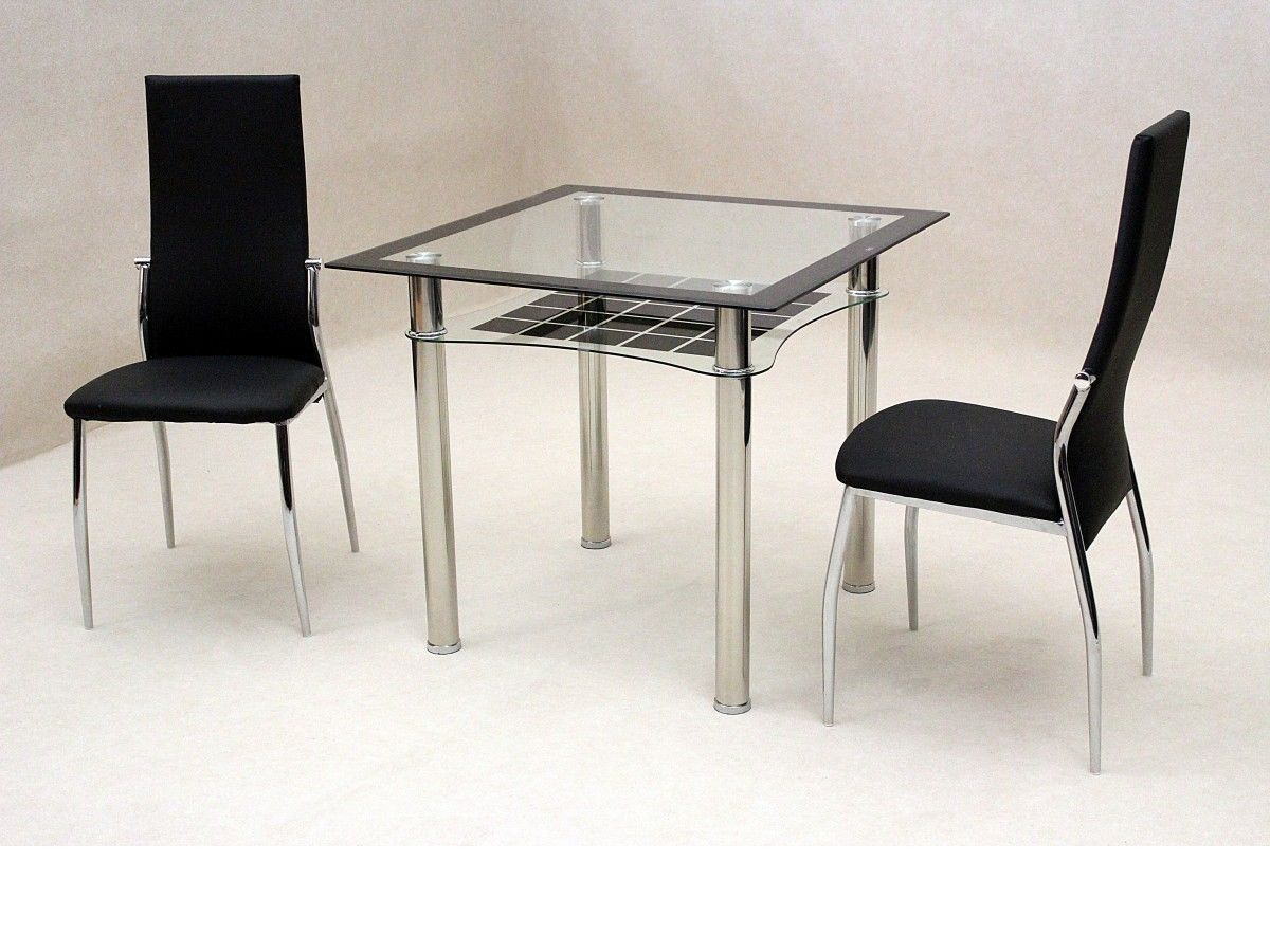 Small square glass dining table and 2 chairs