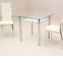 Small Table And Chairs Set High Chair Restaurant Style Square Clear Glass Dining 2