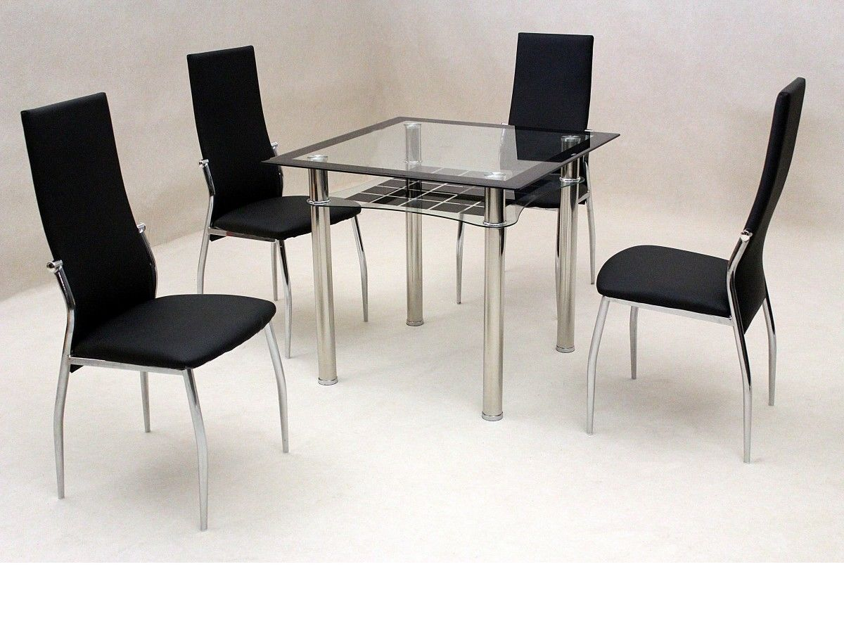 black dining table and chairs big chair covers small square clear glass 4