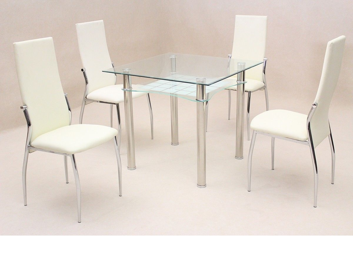 Square clear glass dining room table and 4 chairs