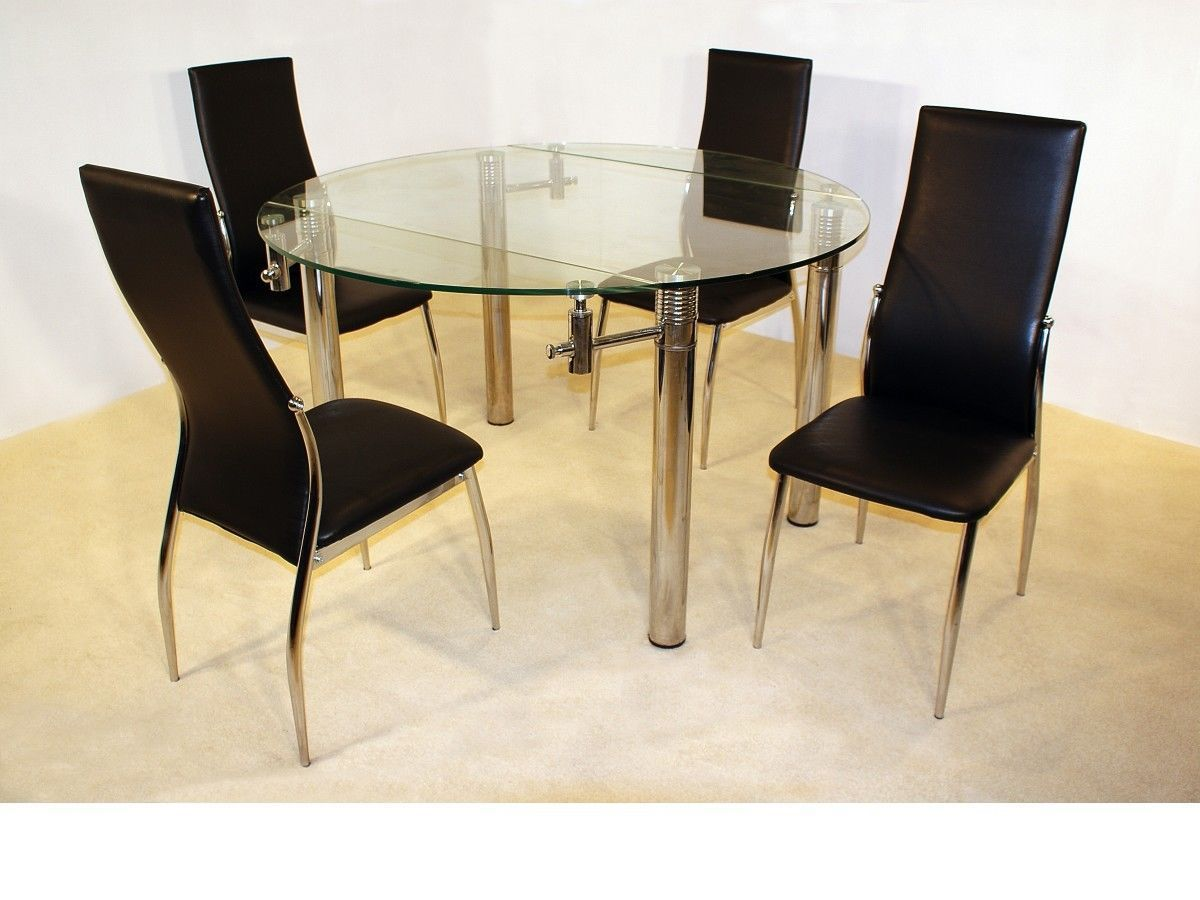 round glass dining table and chairs hon office costco large 130cm clear 4