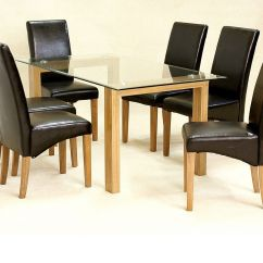 Glass And Wood Dining Table Chairs How To Build A Lifeguard Chair For Pool 6 Clear Large Set Oak Finsh