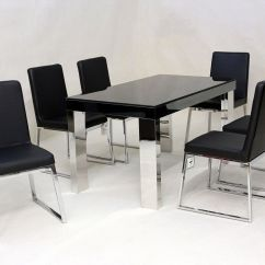 Black Dining Table And Chairs Revolving Chair Price In Karachi Modern Glass 6 Homegenies