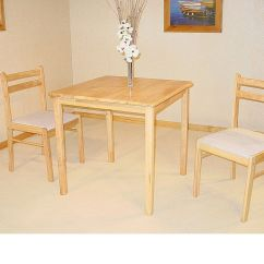 Two Chair Dining Table School Desk Chairs Small Square Solid Rubberwood And 2