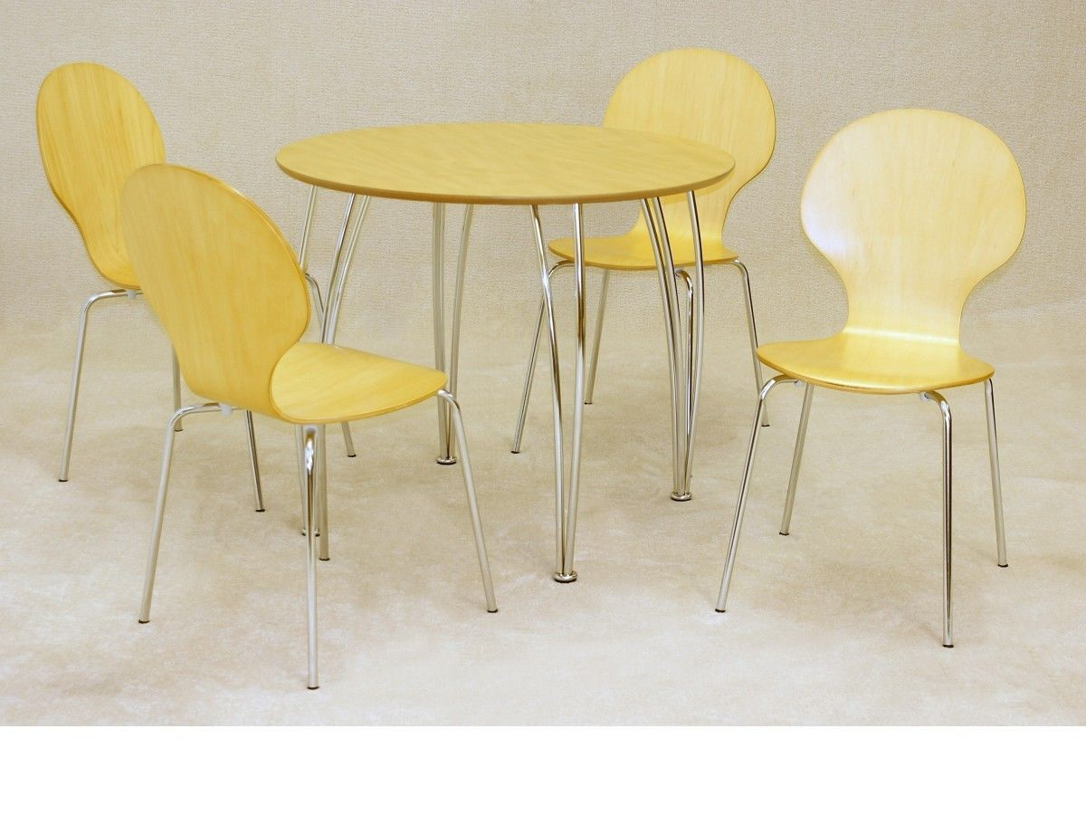 small round dining table and chairs u chair design beech wooden 4