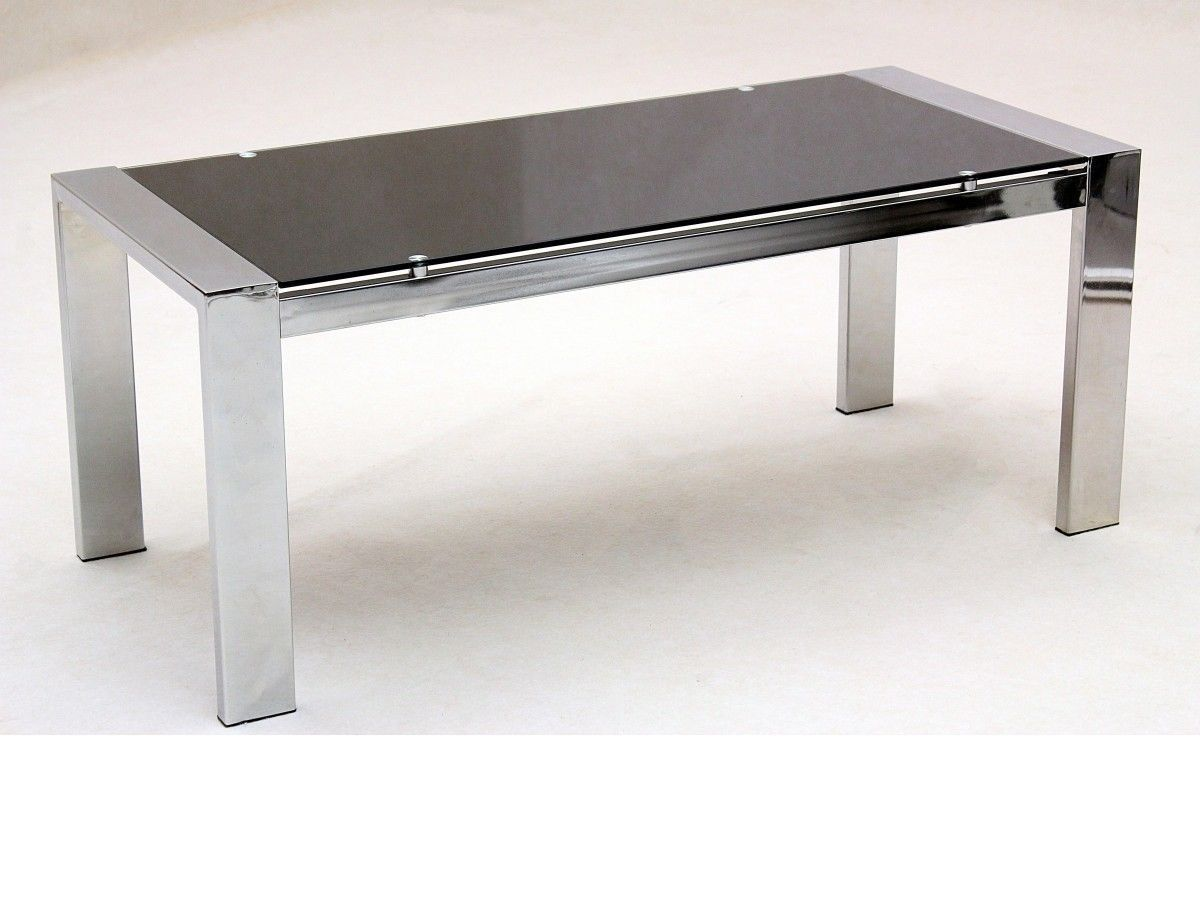 large glass coffee table rectangle chrome legs