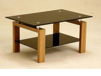 Black glass coffee table with wood oak finish base ...