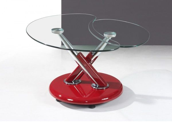 Red high gloss adjustable clear glass coffee table ...