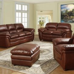 3 2 Leather Sofa Set Thin Sofas Uk Brown 1 Seater Soft And Footstool Homegenies