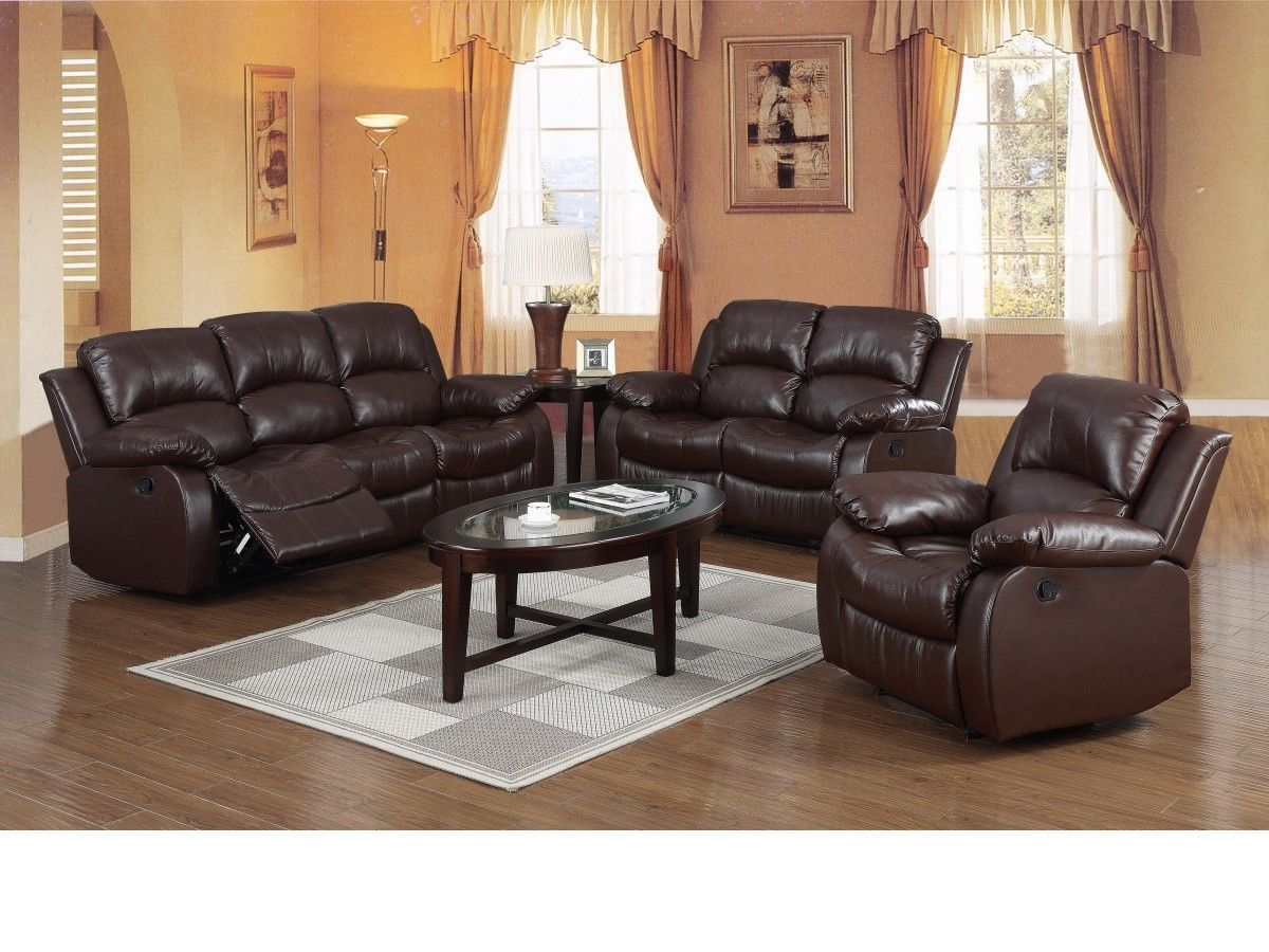 Brown Leather Recliner 321 Seater Sofa Suite Homegenies