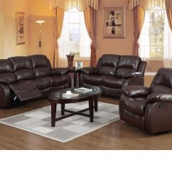 Recliner Sofa Set 3 2 1 Sagging Sleeper Cushions Brown Leather 432 431 Seater Suite Homegenies