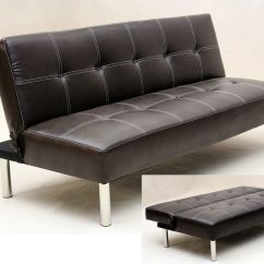 3 Seater Black Leather Sofa Making Covers At Home Faux Bed Brown Homegenies