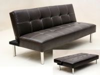 Faux leather 3 seater sofa bed brown black - Homegenies