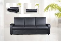 Faux leather 3 seater sofa bed black, brown, cream ...